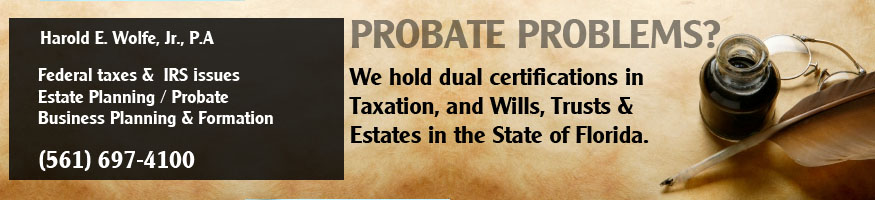 The firm handles all facets of probate administration including formal administration (over $75,000) and summary administration (for small estates under $75,000). This includes not only routine probate matters, but matters of a more complex nature including spousal elective share, homestead, matters concerning family businesses, complex creditor claims and other non-routine matters. The firm also handles ancillary probate estates involving Florida assets for estates of decedents with wills drawn and probated in other state jurisdictions.